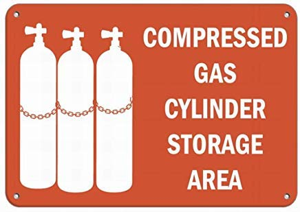 (Freedom45457 Compressed Gas Cylinder Storage Area Hazard Sign Flammable Sign,Metal Warning Signs for Property,Home Decor)