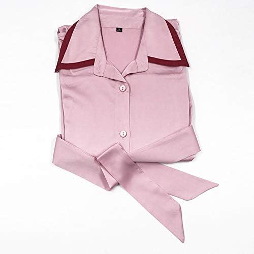 Bata de baño de mujer, satén sexy camisón, cuello de camisa con botones, moda transpirable, ropa de noche de spa para mujer Large rosa: Amazon.es: Hogar