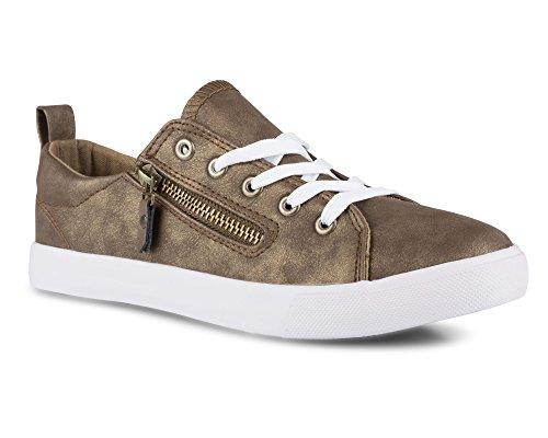 Vridna Kvinna Gränd Konstläder Mode Sneaker Med Dekorativa Blixtlås Brons