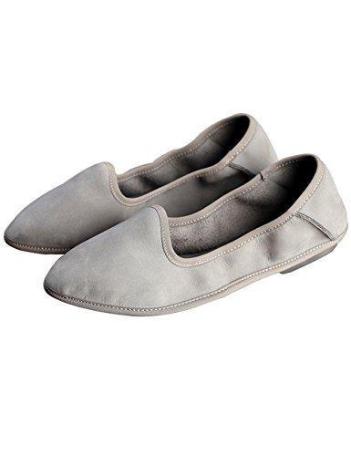因子うれしい抑制(のグレープフルーツ プラム)エッグロールの靴 居心地のよいです ソフトボトム 牛革 ピーズの靴 レディースフラットシューズ レディースダンスシューズ