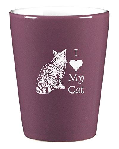 1.75oz Ceramic Shot Glass- I love my Cat-Purple