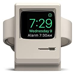 elago Upgraded W3 Stand (White) for Apple Watch Series 5, 4, 3, 2, 1, 44mm, 42mm, 40mm, 38mm - Old School Design - Original Design Awards [Patent Pending], Nightstand Mode