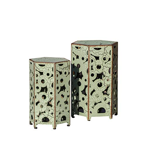 Great Deal Furniture (Set of 2) Utica Antique Style Green Accent Table