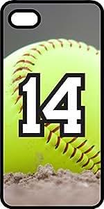 diy phone caseSoftball Sports Fan Player Number 14 Black Rubber Decorative iphone 5/5s Casediy phone case