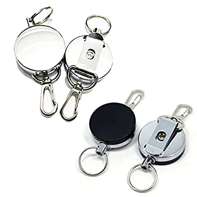SAMS FISHING 2 pcs x Metal Retractable Reel Fly Fishing Zinger Retractor Stainless Cable Zinger with Belt Clip