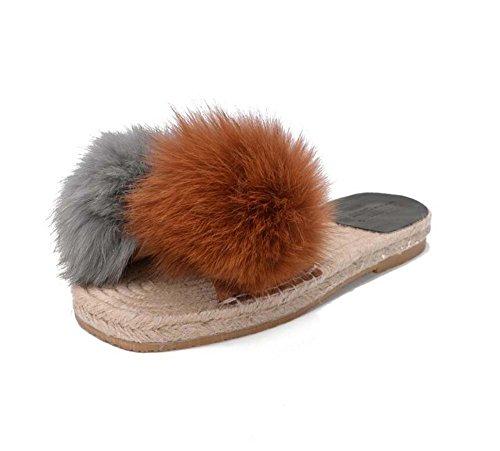 temperamento plana Las de colormatch zapatillas sandalias felpa Brown zapatillas sandalias tamaño de chanclas casuales Eu 40 34 mujeres lino vvqSfP