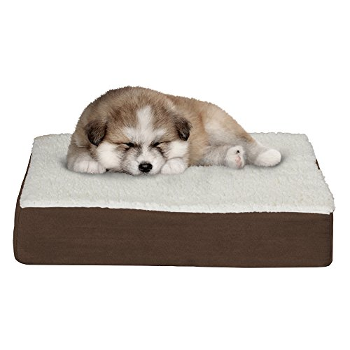 Orthopedic Sherpa Top Pet Bed With Memory Foam And