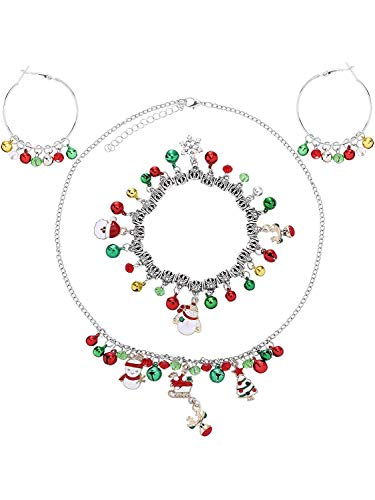 YYJA Christmas Bell Earrings Dangle Hoop Earrings with Bell Necklace and Bracelet for Home Women Girls, Gold, Silver, Red and Green Color