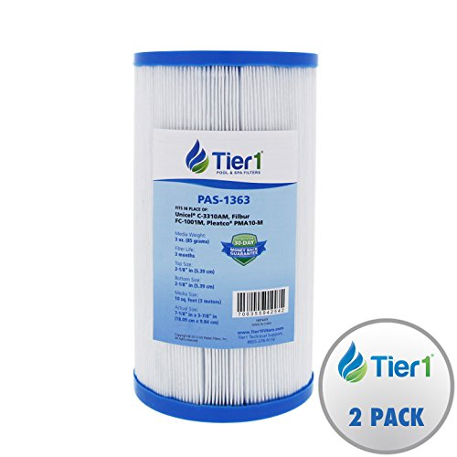 Performance High Flow Pump Master (Tier1 Master Spa X268057, Eco-Pur (2004 or later), Pleatco PMA10-M, Unicel C-3310AM Comparable Replacement Antimicrobial Filter Cartridge for Master Spas (2-Pack))
