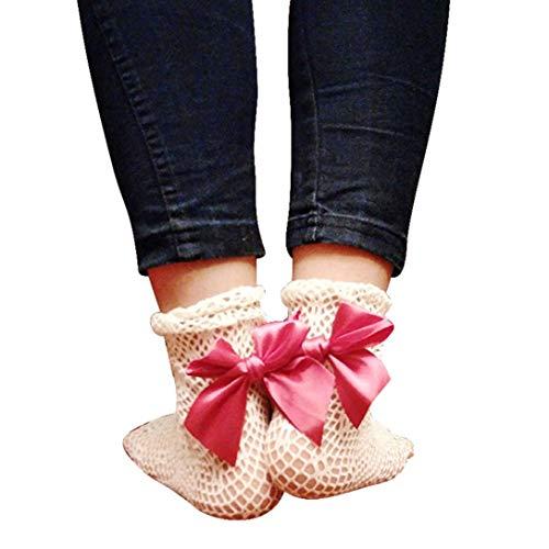 Socks, FORUU Sales 2019 Winter Warm Under 10 Best Gift Women Beautiful Fishing Net Bowknot Short Pink ()