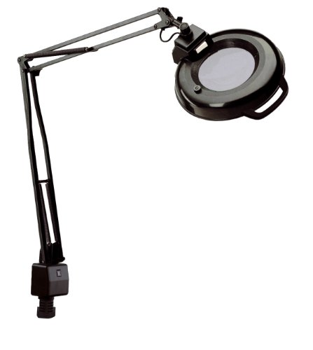 Electrix 7121 BLACK Magnifier Lamp, Fluorescent, Clamp-on Mounting, 3-Diopter, 45