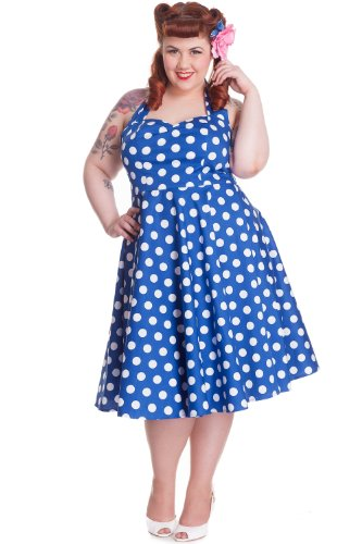Hell-Bunny-Plus-Size-60s-Blue-and-White-Polka-Dot-Halter-Juicy-Dots-Party-Dress