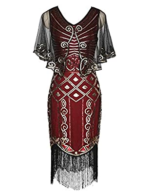1920s Flapper Dress with Sequined Cape Roaring 20s Gatsby Beaded Dress Shawl Deco Art Deco Dress