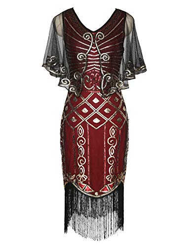 1920s Flapper Dress with Sequined Cape Roaring 20s Gatsby Beaded Dress Gold Shawl Deco Art Deco Dress (Burgundy, S)