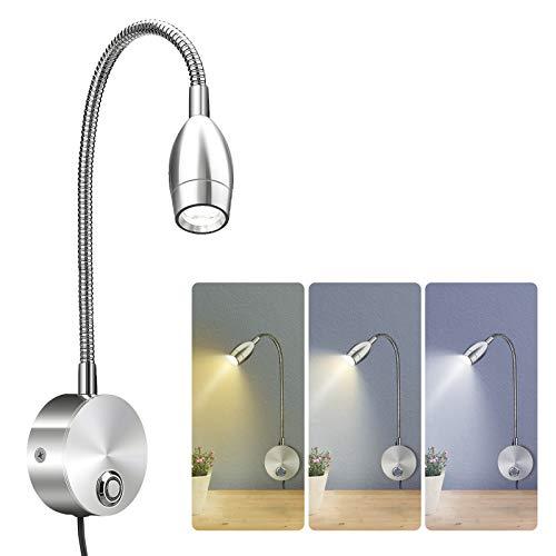 Elfeland LED leeslamp zwanenhals lamp bedlamp leeslamp met dimbare 3 kleurtemperaturen 3W bedlamp met schakelaar Touch…