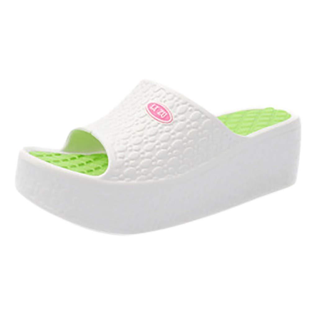 AOJIAN Shoes Womens Sandals Summer Thick Platform Wedge Beach Flip Flop Slide Slipper Clog Mule White