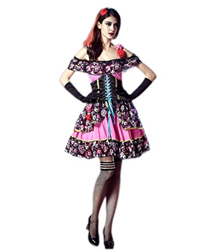 JJ-GOGO Dead Day Costume - Spanish Lady Halloween Fancy Scary Party Cosplay Dress Costume Women ()