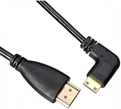 90 degree right angled Type Mini HDMI Male to HDMI Male stretch spring CABLE