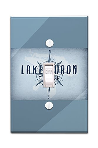Lake Huron  Michigan   Lake Essentials   Lake And Compass  Light Switchplate Cover