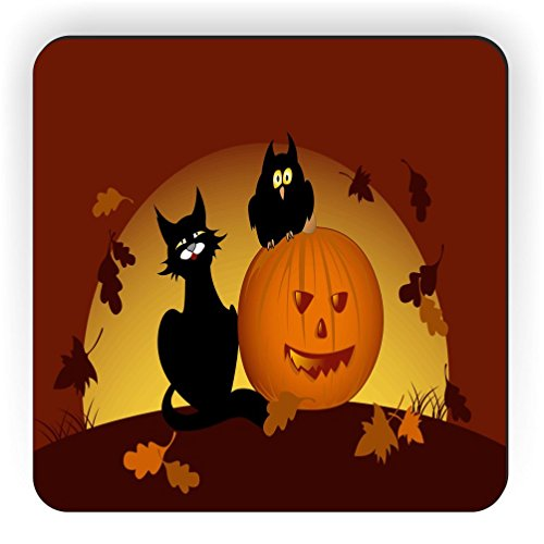 Rikki Knight Halloween Pumpkin and Black Cat Design