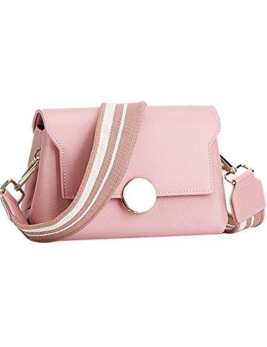 Menschwear Womens Genuine Leather Cross-body Bag Pink by Menschwear