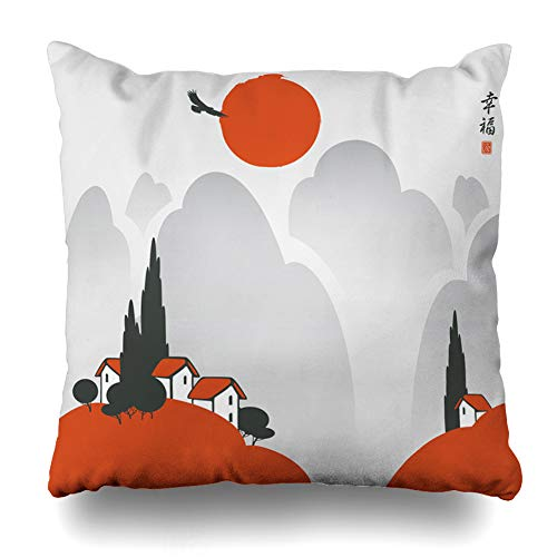 Pandarllin Throw Pillow Cover House Watercolor Asia Small Village Flying Settlement Nature Bird Character Culture Eagle Design Fall Cushion Case Home Decor Design Square Size 16 x 16 Inches Pillowcase