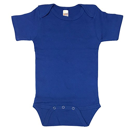 The Laughing Giraffe Baby Boy Blank Solid Cotton Short Sleeve Bodysuit Onesie (12-18M, Royal) Blue Onesies
