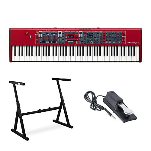 Nord Stage 3 88-Key Fully-Weighted Hammer-Action Keyboard Bundle with Knox Z-Style Stand and Sustain Pedal
