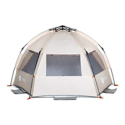 Easthills Outdoors Instant Shader Enhanced Deluxe XL Easy Up 4 Person Beach Tent Sun Shelter UPF 50+ with Extended Zippered Porch