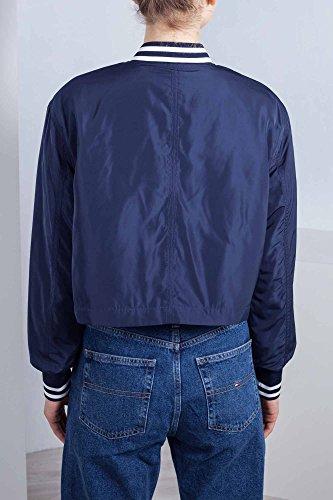 Donna Tommy Taglia corto S in Jeans varsity Bomber blu nylon OOrqP5