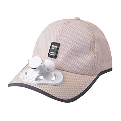 (jiumoji-Shoes Summer USB Charging Cotton Breathable Fan Hat Cooling Baseball Cap Shade Sunscreen Lightweight Hat (-Beige, 52-58CM))