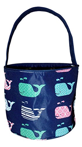 Fabric Bucket Tote Bag for Children - Toys - Easter Basket - Can Be Personalized (Navy Whale Print) (Easter Basket Boys)