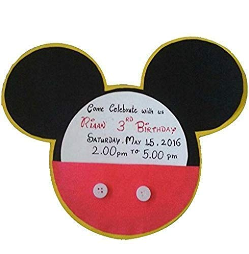 Disney Mickey Mouse Theme Party Invitation Cards : Pack of 10 -