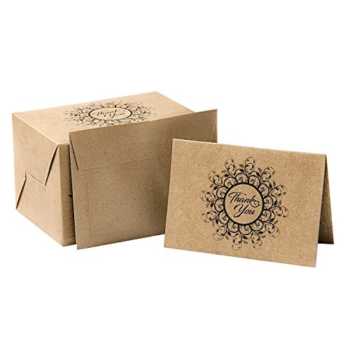 Sayings You Thank (PAPER PRET - Krafty Thank You Cards with Matching Envelopes, 60 Count, Kraft Brown)