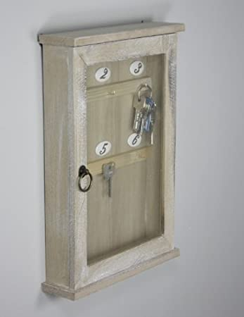 Schlüsselkasten Schlüsselschrank Holz braun Landhaus Cottage antik ...