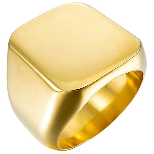Engraved Signet Ring (UM Jewelry Mens Stainless Steel Biker Signet Style Classic Ring Engravable Heavy Polished, Gold Tone)