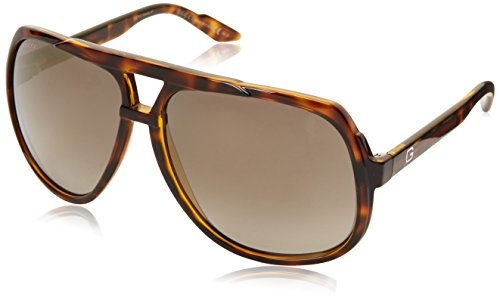 Gucci Women's Oversized Aviator Sunglasses, Havana/Grey Shade Flash Gold, One - Shades Women Gucci