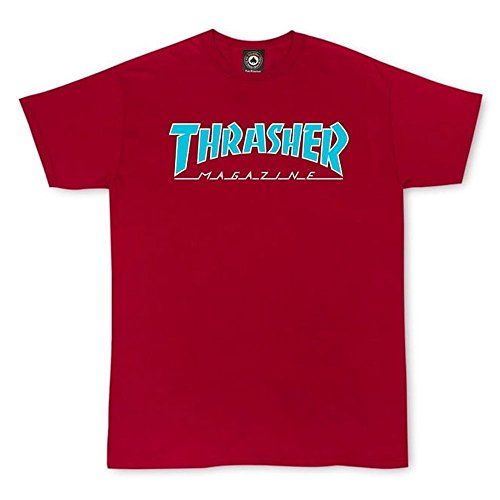 Thrasher Outlined Short Sleeve T-Shirt - Cardinal - Large