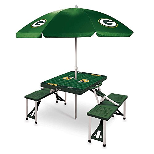 NFL Green Bay Packers Picnic Table Sport with Umbrella Digital Print, One Size, Green by PICNIC TIME