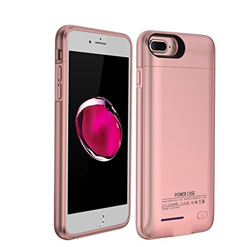 Art Apple - iPhone 8/7/6s/6 Battery Charging Case, Innovative Wireless 3000Mah Portable Cover Charger Power Bank Battery Case For Iphone Accessories With Quick Charge Magnetic Stand Design Rose Gold