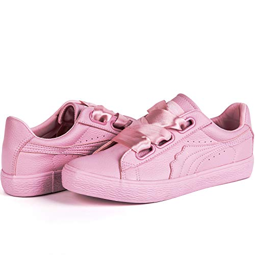 - LANTINA Women's Low Top Fashion Sneakers PU Leather Shoes Comfy Lightweight and Breathable for Tennis Running Walking Athletic Baseball Ladies Dresses Summer Casual Everyday Dress, Pearl Pink Size 8