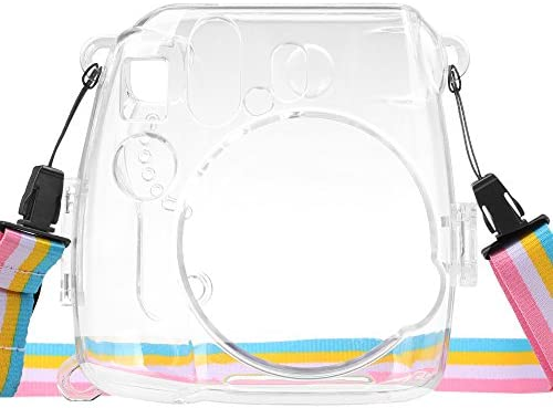 Clear Fintie Protective Clear Case for Fujifilm Instax Mini 8 Mini 8 Mini 9 Instant Camera Crystal Hard PVC Cover with Removable Rainbow Shoulder Strap