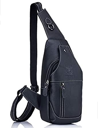 Men's Shoulder Bag,Naswei Sling Genuine Leather Chest Bag Anti-theft Crossbody Daypack Vintage Water Resistant for Travel Hiking Working School Business Cycling - Black