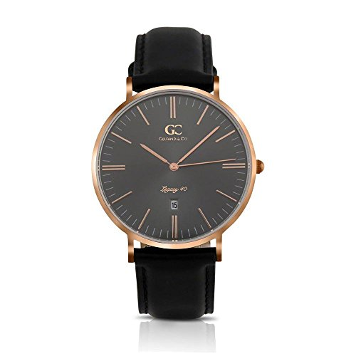 Gelfand & Co. Men's Minimalist Watch Black Leather Lafayette 40mm Rose Gold with Gray Metallic Dial