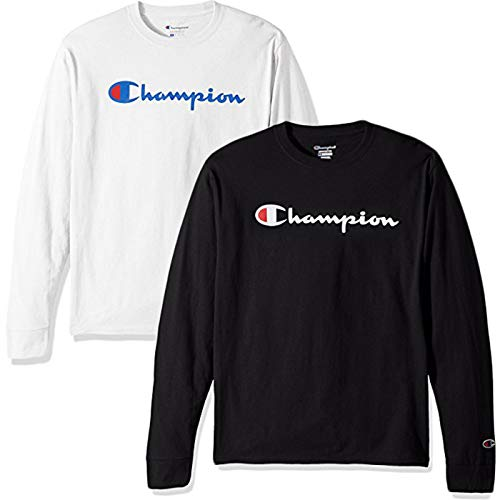 Champion Men's Classic Jersey Script T-Shirt, Long Sleeve-2 Pack (Black and White LS, Medium) ()