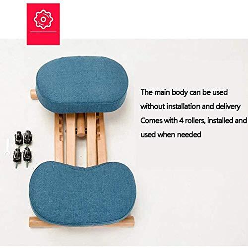 Stol höjd justerbar knäböjning, ergonomiskt utformad knådande pall handtag höjd justering kontor knä ergonomisk korrekt hållning, brun