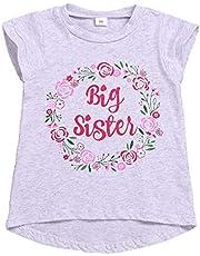 Big Sister Shirt Toddler Girls Floral Short Sleeve Top Blouse Big Sister Announcement T-Shirt 1-6Y