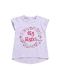 Big Sister Shirt Toddler Girls Floral Short Sleeve Top Blouse Big Sister Announcement T-Shirt 1-6Y