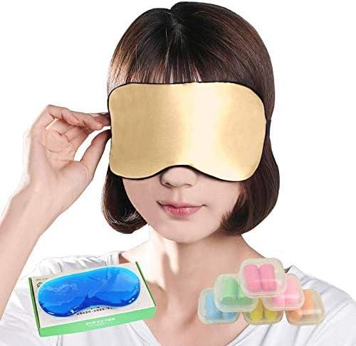 Silk Schlaf-Augen-Schablone, Doppelseitiger Silkworm / 100% Blackout Lüftung/Männer und Frauen Augen Eisbeutel Schutz Kälte Hot Schlaf,C
