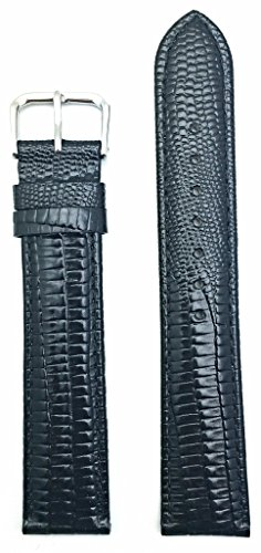 20mm Long, Classy Black Genuine Leather Watch Band | Teju Lizard Grain, Lightly Padded Replacement Wrist Strap That Brings New Life to Any Watch (Mens Long Length)
